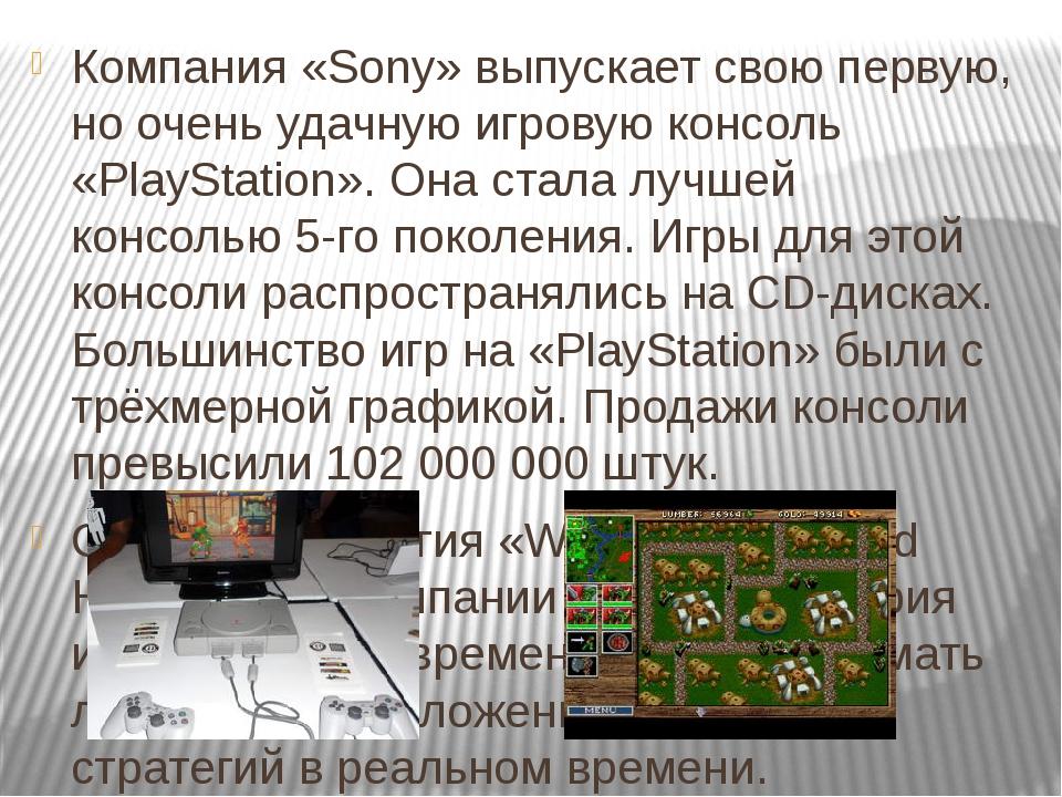 Компания «Sony» выпускает свою первую, но очень удачную игровую консоль «Play...