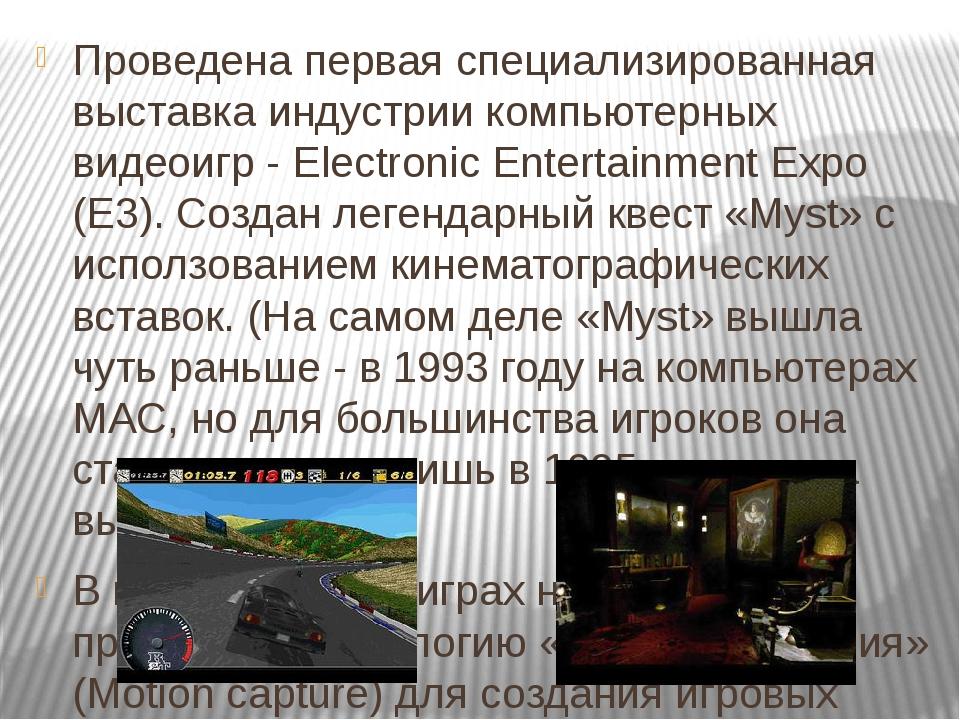 Проведена первая специализированная выставка индустрии компьютерных видеоигр...