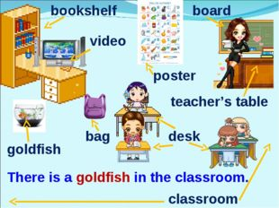 poster bookshelf board teacher's table video desk goldfish bag classroom Ther