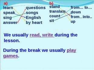 learn speak sing answer questions songs English by heart stand translate coun