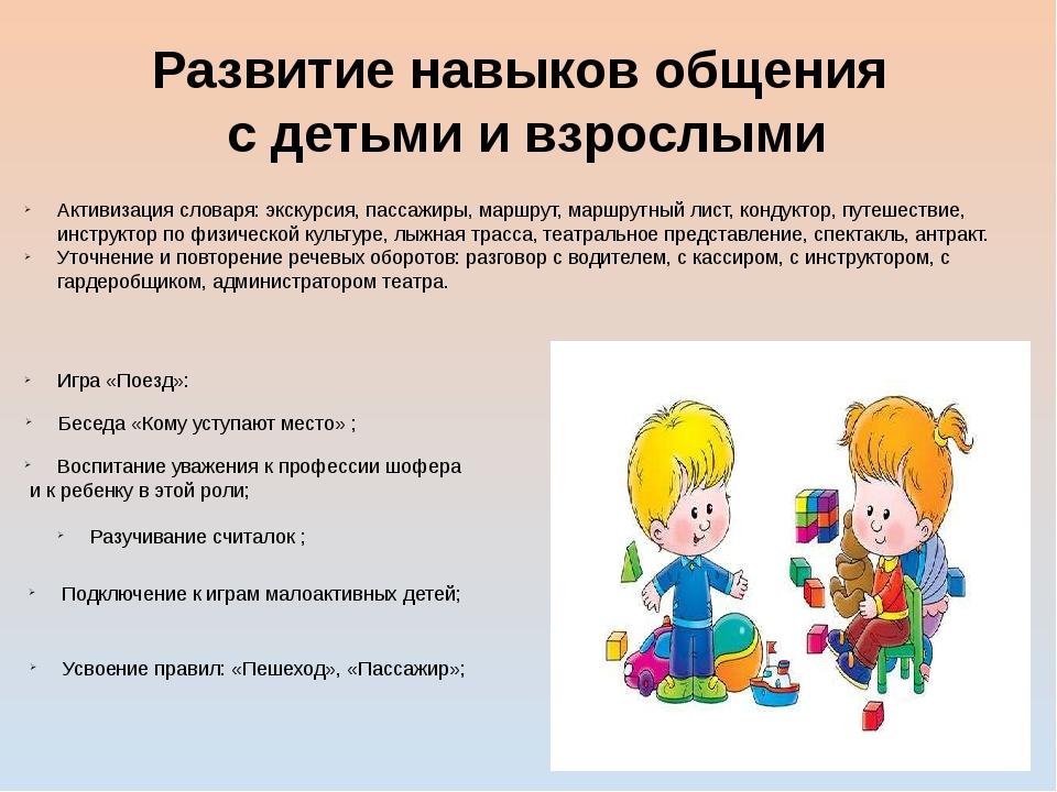 Развитие навыков общения с детьми и взрослыми Активизация словаря: экскурсия,...