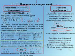 Погонные параметры линий Активная проводимость (g) Реактивная (емкостная) про