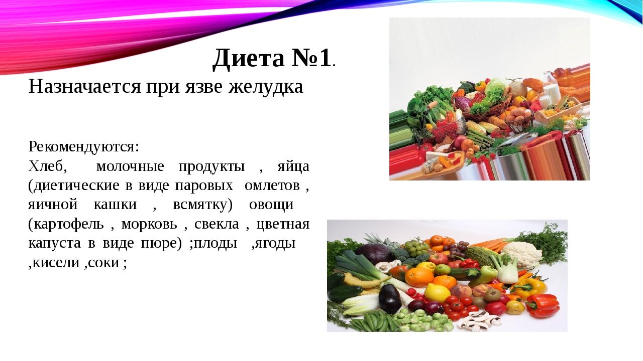 Диета №1. Назначается при язве желудка Рекомендуются: Хлеб, молочные продукты...