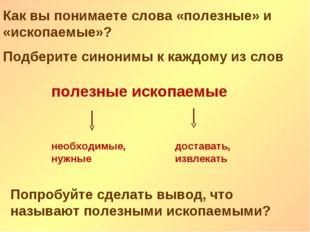 Как вы понимаете слова «полезные» и «ископаемые»? Подберите синонимы к каждом