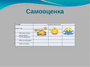 Самооценка NAME Progress report card Now I can Very well Ok Not very well Tal