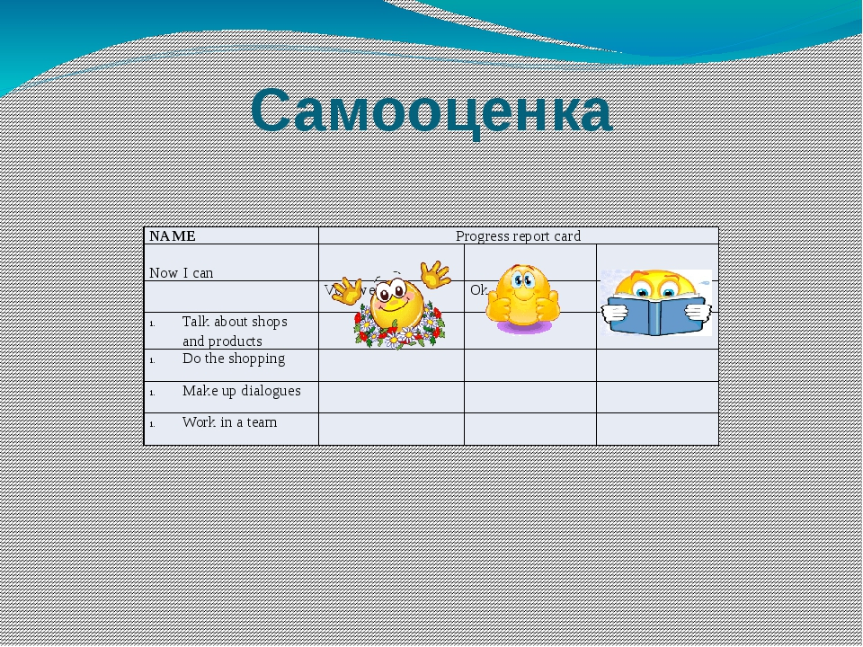 Самооценка NAME Progress report card Now I can Very well Ok Not very well Tal...