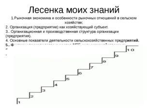 Лесенка моих знаний 1.Рыночная экономика и особенности рыночных отношений в с
