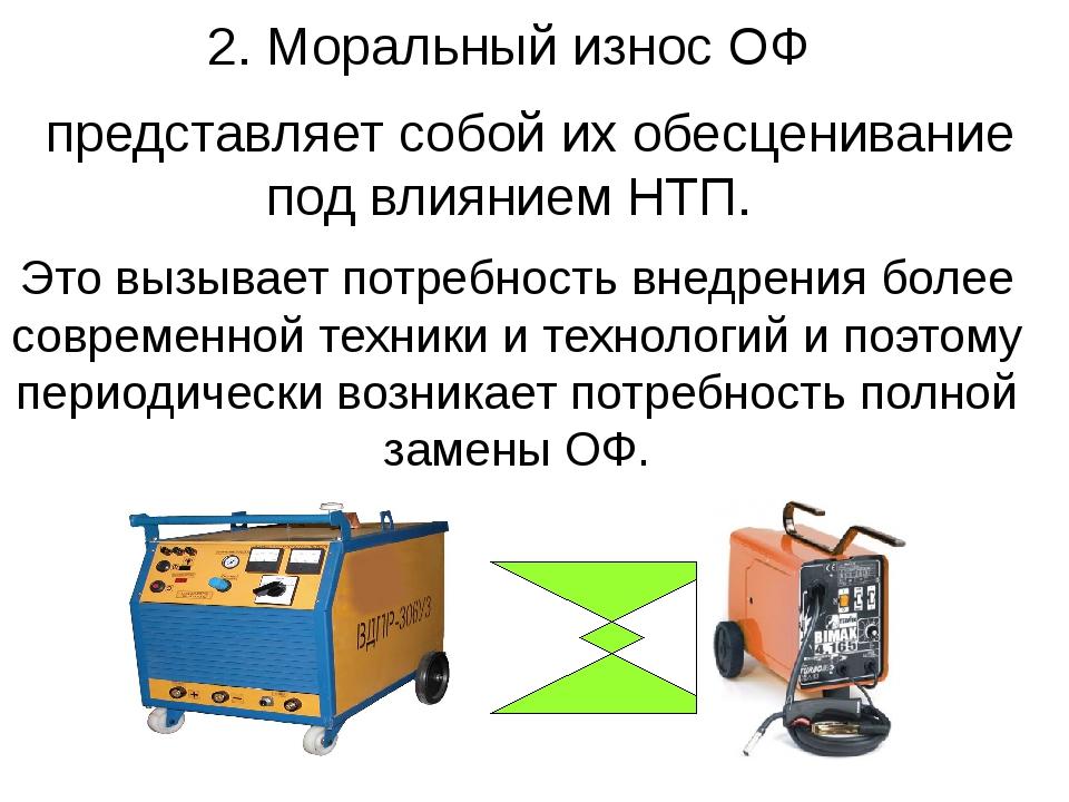 2. Моральный износ ОФ представляет собой их обесценивание под влиянием НТП. Э...