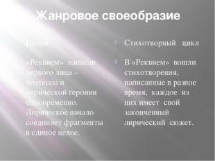 Жанровое своеобразие Поэма Стихотворный цикл «Реквием» написан первого лица –