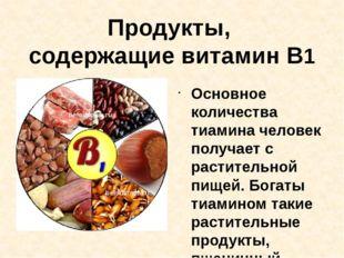 Продукты, содержащие витамин В1 Основное количества тиамина человек получает