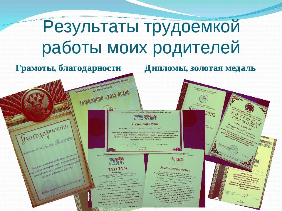Результаты трудоемкой работы моих родителей Грамоты, благодарности Дипломы, з...