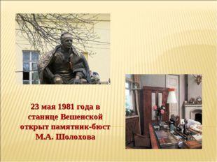 23 мая 1981 года в станице Вешенской открыт памятник-бюст М.А. Шолохова
