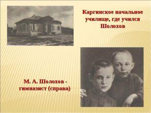 М. А. Шолохов - гимназист (справа) Каргинское начальное училище, где учился Ш