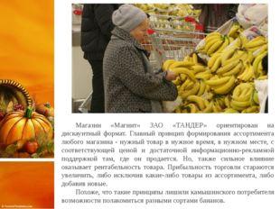 Магазин «Магнит» ЗАО «ТАНДЕР» ориентирован на дискаунтный формат. Главный пр