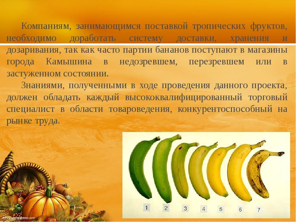 Компаниям, занимающимся поставкой тропических фруктов, необходимо доработать...
