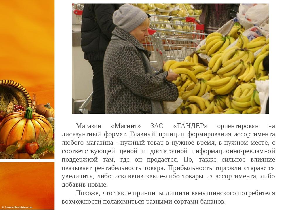 Магазин «Магнит» ЗАО «ТАНДЕР» ориентирован на дискаунтный формат. Главный пр...