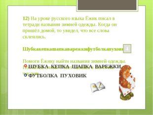 12) На уроке русского языка Ёжик писал в тетради названия зимней одежды. Когд