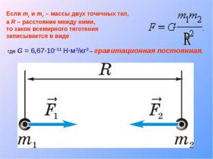 Если m1 и m2 – массы двух точечных тел, а R – расстояние между ними, то закон