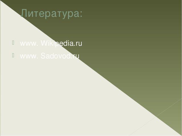 Литература: www. Wikipedia.ru www. Sadovod.ru