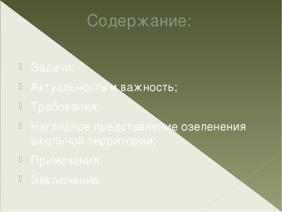 Содержание: Задачи; Актуальность и важность; Требования; Наглядное представл...