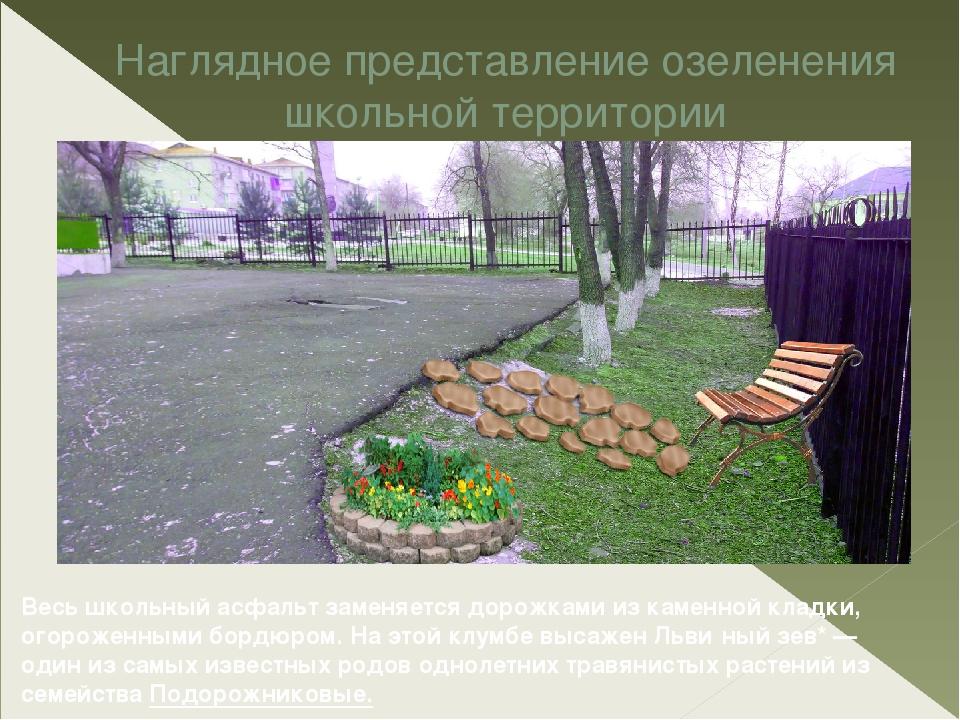 Наглядное представление озеленения школьной территории Весь школьный асфальт...