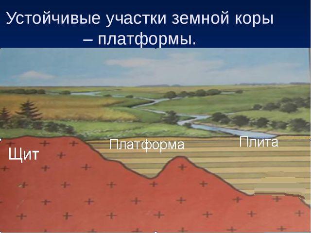 Устойчивые участки земной коры – платформы. Щит Платформа Плита