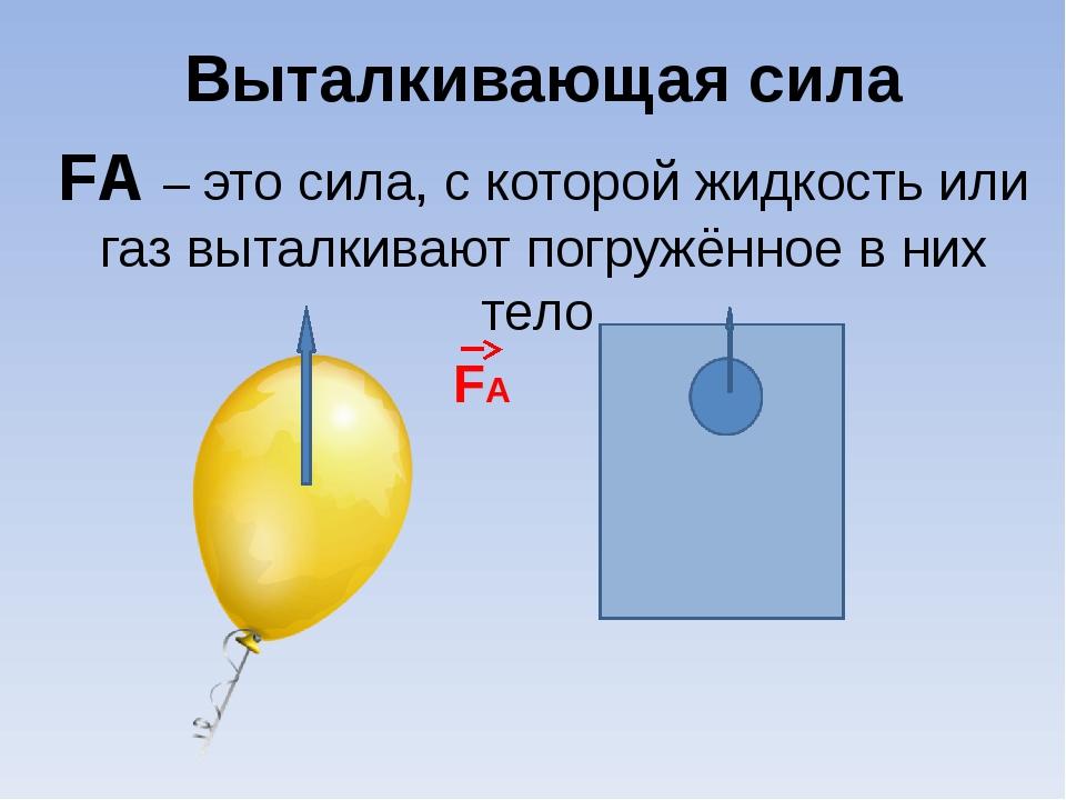 Выталкивающая сила FА – это сила, с которой жидкость или газ выталкивают пог...