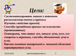 Цели: 19.04.2012 Систематизировать знания о взаимном расположении точек и пря