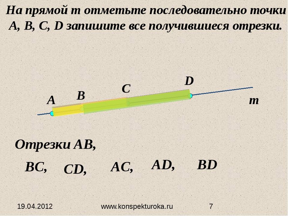 19.04.2012 www.konspekturoka.ru Отрезки AB, На прямой т отметьте последовател...