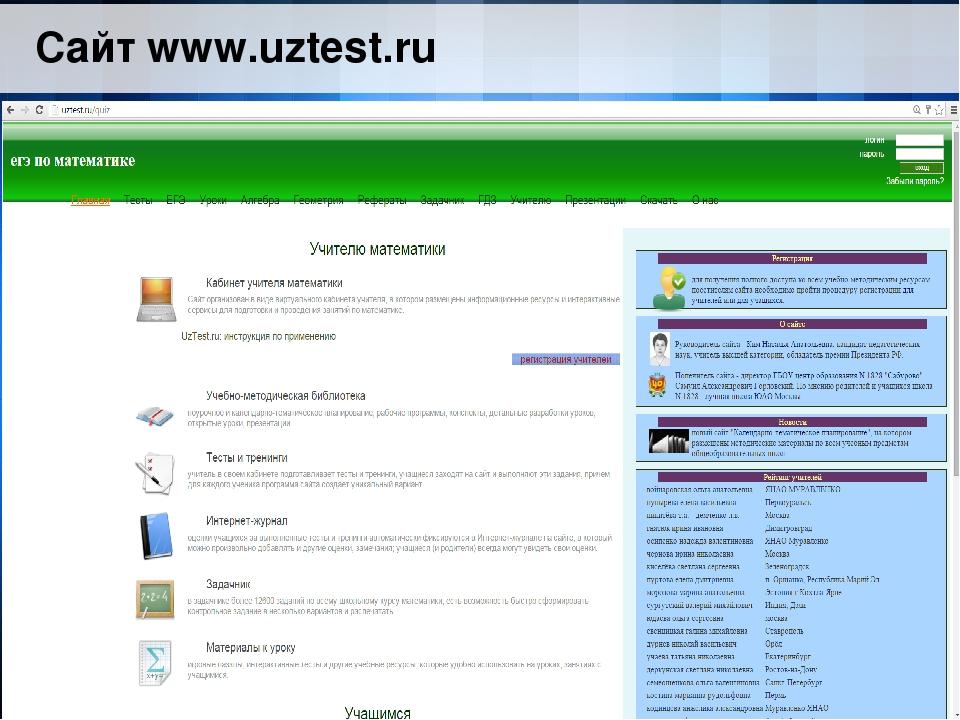 Сайт www.uztest.ru
