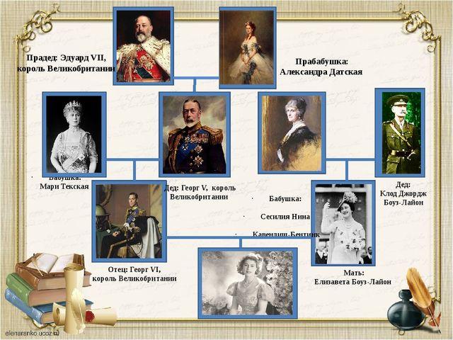 Бабушка: Мари Текская Отец: Георг VI, король Великобритании Мать: Елизавета...