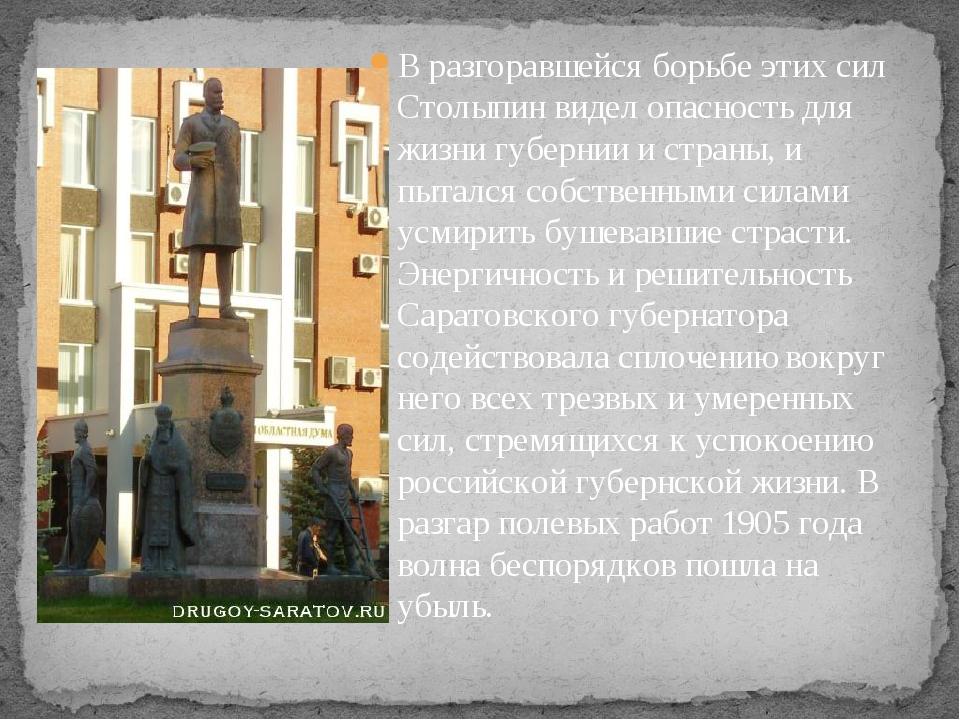 В разгоравшейся борьбе этих сил Столыпин видел опасность для жизни губернии и...