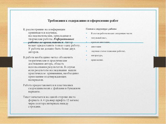 Требования к содержанию и оформлению работ К рассмотрению на конференции прин...