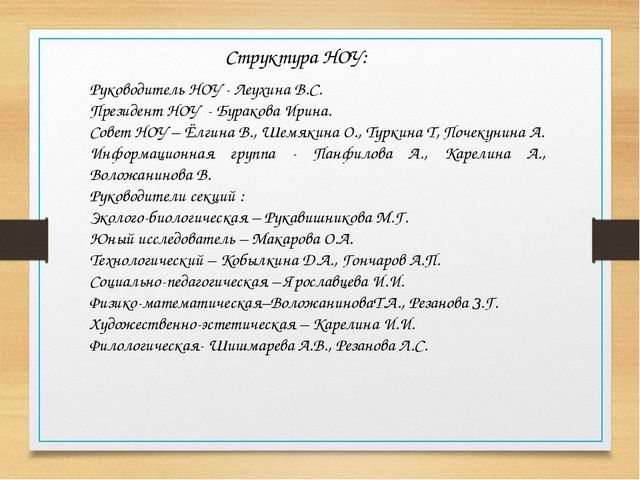 Руководитель НОУ - Леухина В.С. Президент НОУ - Буракова Ирина. Совет НОУ – Ё...