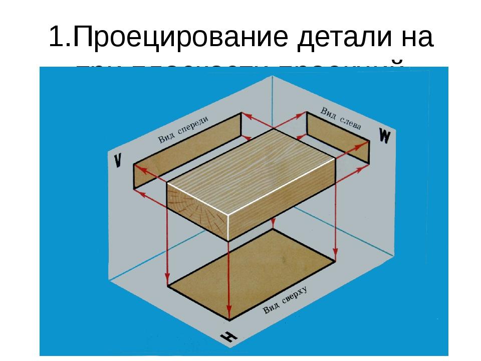 1.Проецирование детали на три плоскости проекций