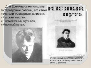 Для Есенина стали открыты литературные салоны, его стихи печатали «Северные