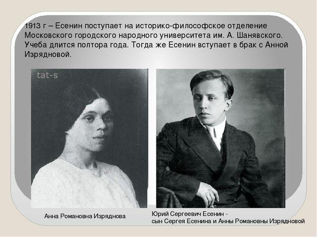 1913 г – Есенин поступает на историко-философское отделение Московского город...