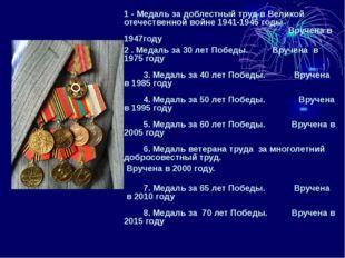 1 - Медаль за доблестный труд в Великой отечественной войне 1941-1945 годы В