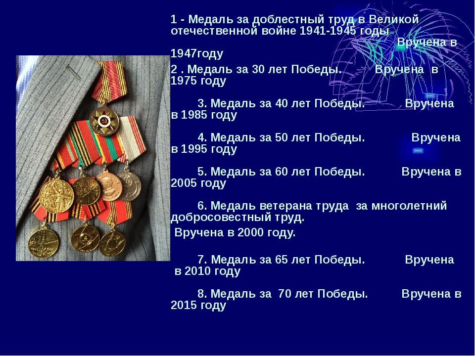 1 - Медаль за доблестный труд в Великой отечественной войне 1941-1945 годы В...