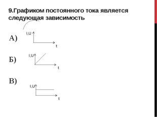 9.Графиком постоянного тока является следующая зависимость А) Б) В) t t t I,U