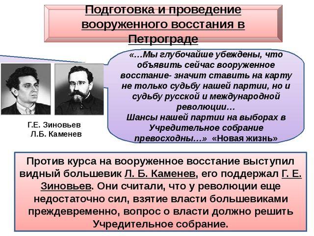 Подготовка и проведение вооруженного восстания в Петрограде Против курса на в...