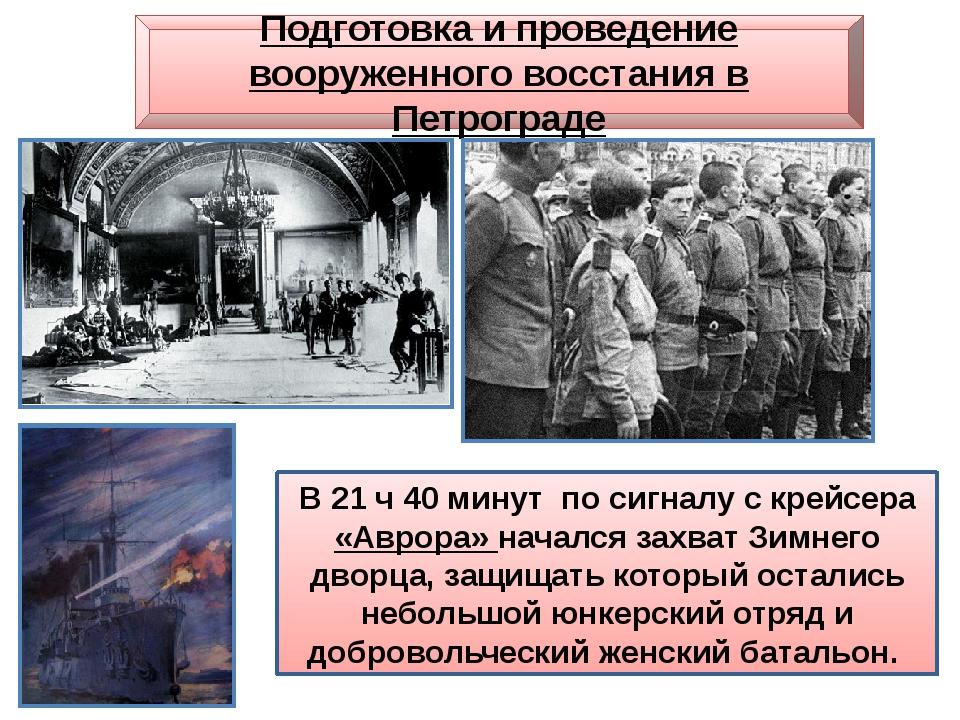 Подготовка и проведение вооруженного восстания в Петрограде В 21 ч 40 минут п...