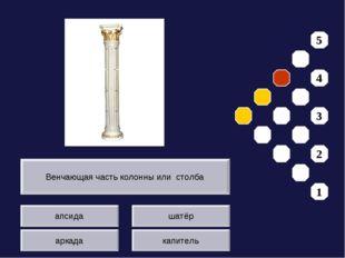 апсида аркада шатёр капитель Венчающая часть колонны или столба 5 4 3 2 1