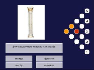 апсида шатёр фронтон капитель Венчающая часть колонны или столба 5 4 3 2 1