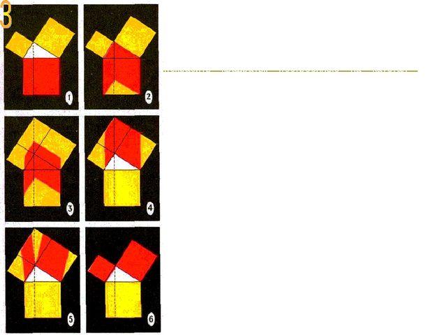 На рисунках запечатлены последовательные этапы доказательства теоремы Пифагор...