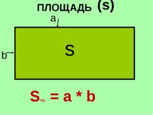 ПЛОЩАДЬ (s) s Sпр. = а * b b a