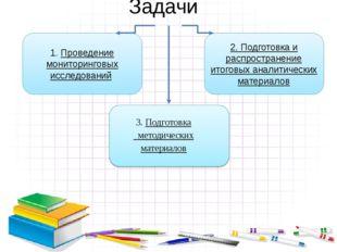 Задачи 1. Проведение мониторинговых исследований 2. Подготовка и распростране