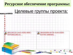 Целевые группы проекта: Ресурсное обеспечение программы: