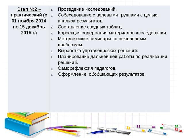 Этап №2 – практический(с 01 ноября 2014 по 15 декабрь 2015 г.) Проведение ис...