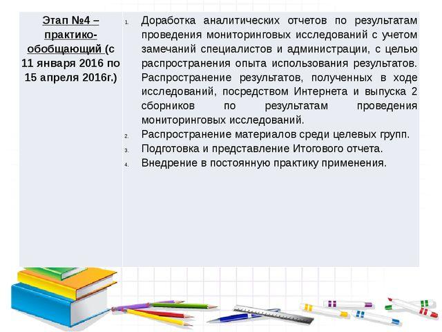 Этап №4 – практико-обобщающий(с 11 января 2016 по 15 апреля 2016г.) Доработк...